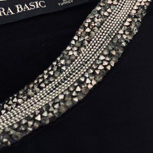 Zara Tops - Zara Layered Beaded Collar Top - Black